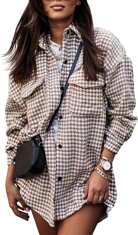 MISSACTIVER Women Casual HoundstoothPlaid Jacket Lapel Button Long Sleeve Pocket Shacket Shirt Coats Blouse Outwear