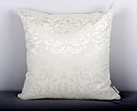 Home- The best is for you Designer self Design/Woven Cotton Cushion Cover. (16 inch x 16 inch, Cream)