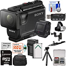 Sony Action Cam HDR-AS50R Wi-Fi HD Video Camera Camcorder & Live View Remote + 64GB Card + Battery/Charger + Case + Tripod + Flat Surface & 2 Helmet Mounts Kit