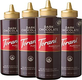 Torani Dark Chocolate Sauce, 16.5 Ounces, Pack of 4 [Packaging May Vary]