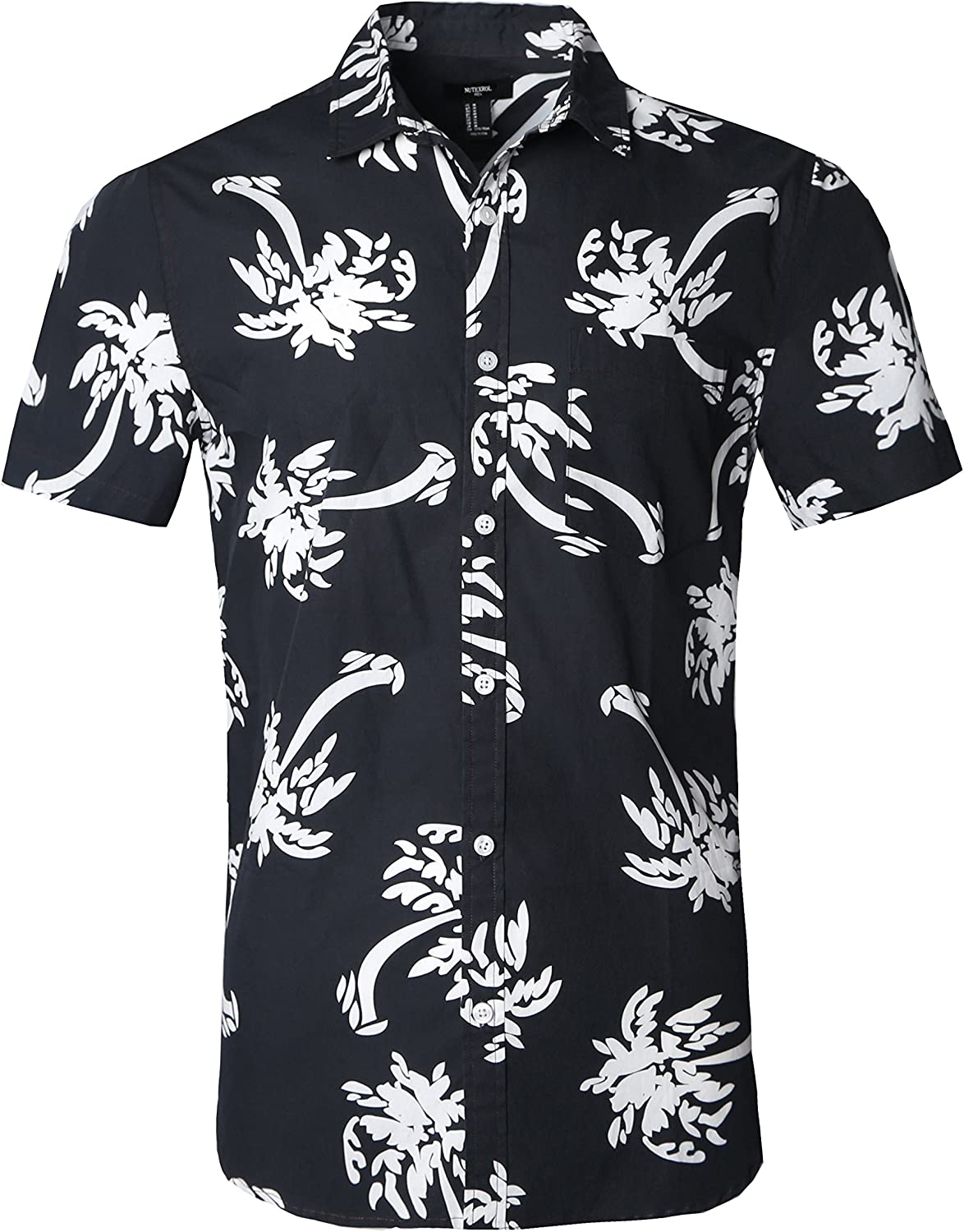 NUTEXROL Mens Hawaiian Shirts Standard-Fit Polyester OFFer Palm Cotton Our shop OFFers the best service