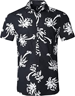NUTEXROL Hawaiian Shirts Mens Bamboo Print Beach Aloha Party Holiday