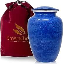SmartChoice Cremation Urn for Human Ashes - Handcrafted Funeral Memorial Urn in Elegant Light Blue (Adult)