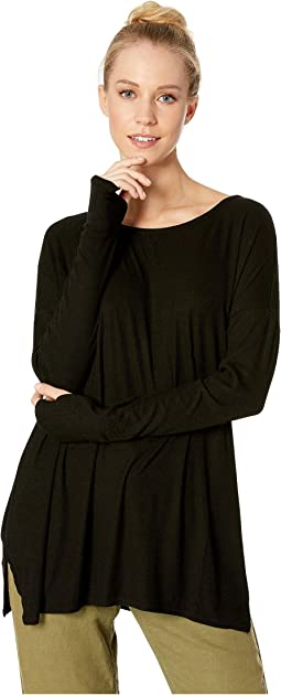 2X1 Rib Long Sleeve Scoop Neck Tunic with Thumbholes