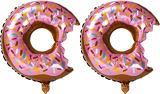 2 Pcs Big Donut Foil Balloons Large Mylar Doughnut Balloon Giant for Birthday Party Decorations Supplies Baby Shower Donut Time