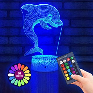 Dolphin Gifts 3D Lamp for Kids Night Light 16 Color...