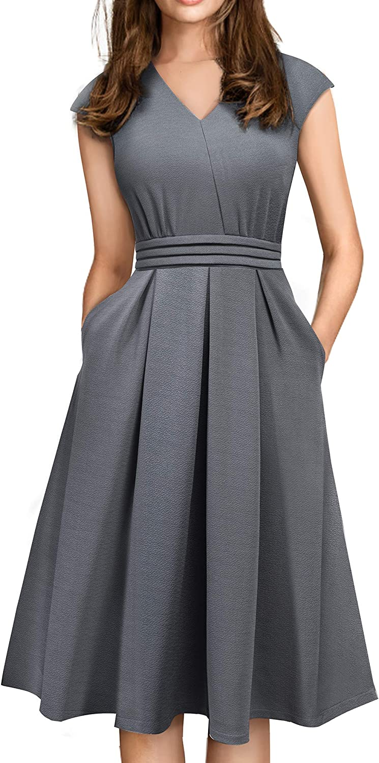 HOMEYEE Women's Vintage V Neck Casual Flare Swing Dress with Pockets A196