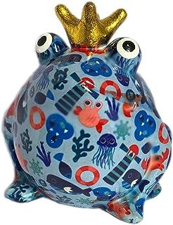 Pomme Pidou Skarbonka żaba król niebieska latarnia morska 15x17 cm skarbonka prezent pieniężny