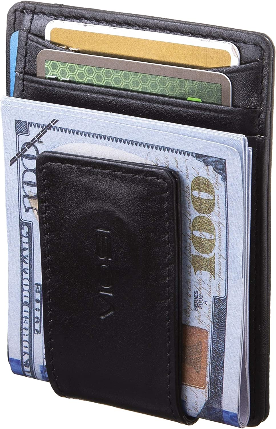 VIOSI Money Clip Slim Leather Wallet For Men Front Pocket RFID Blocking Card Holder With Rare Earth Magnets