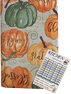 Fall Pumpkins Vinyl Tablecloth Flannel Backed Harvest Pumpkins with Thanksgiving Sentiments on Multi Colored Pumpkins Indo...