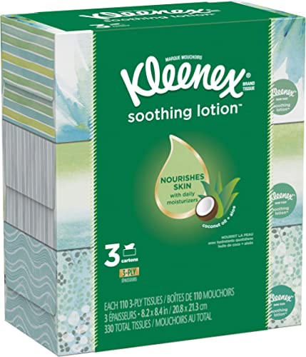 Kleenex Soothing Lotion Facial Tissues, 3 Flat Boxes, 110 Tissues per Box (330 Tissues Total), Coconut Oil, Aloe & Vi...