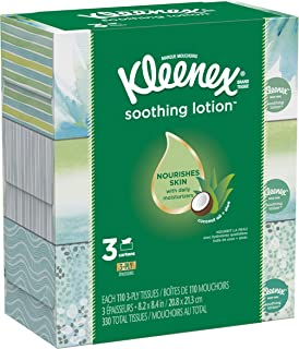 Kleenex Soothing Lotion Facial Tissues, Hypoallergenic, 3 Rectangular Boxes, 110 Tissues per Box (330 Tissues Total)