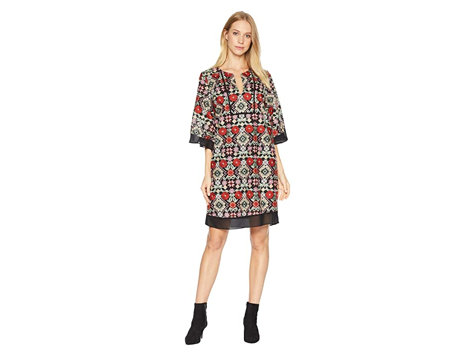BCBGMAXAZRIA Tati Floral-Embroidered Dress (Jasper Multi) Women