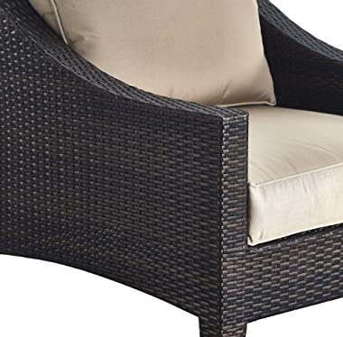 Serta Tahoe Brown Resin Wicker Outdoor Patio Furniture Collection Porch or Pool, Garden, All-Weather with Thick Seat Cushion, Arm Chair