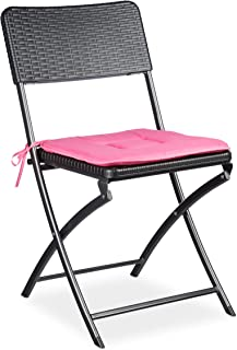 Relaxdays 1 10020055_415-Silla Plegable de jardín Negro 50x44x82 cm