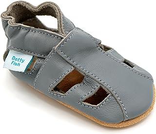 Dotty Fish Chaussures bébé en Cuir Souple. Sandales. Chaussons antiderapant Bebe. Garçons et Filles. 0-6 Mois à 3-4 Ans