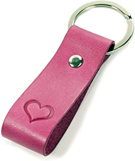 Key Chain with Engraving, Pink Embossed Heart – A great gift for Men and Women – Very Good feel – Including Gift Box – A Gift of Luminick®