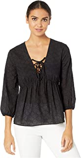 Women's Elbow Sleeve Lace Front Woven Top