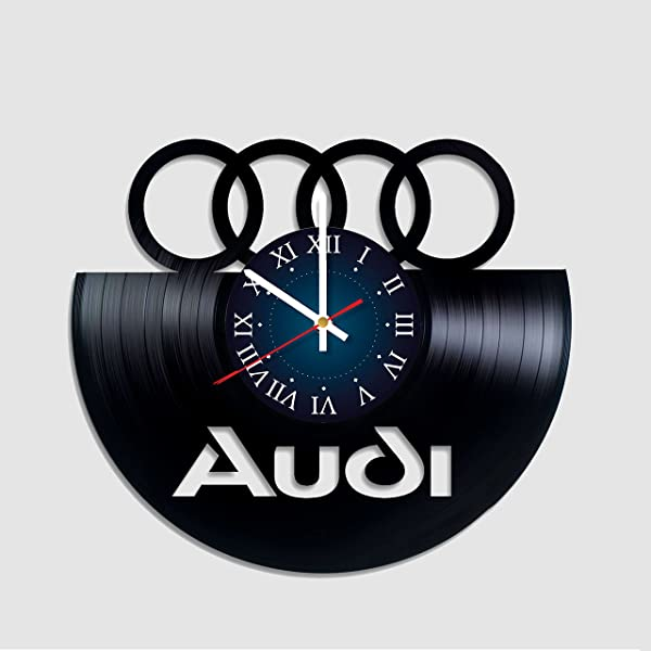 Audi Logo Vinyl Record Wall Clock Decor Handmade Unique Original Gift Sport CAR Audi Merchandise Gifts For Him Gift For Her Fans Best Clock Vinyl Clock Gift For Dad Husband