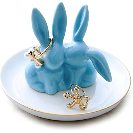 Ring Dish Vintage Trinket Dish Ring Holder Trinket Bowl easter bunny Jewelry Storage Rabbit Figurine Easter Figurine Rabbit statue Bunny