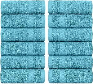 White Classic Luxury Cotton Washcloths - Face Towel Set | 12 Pack | Aqua