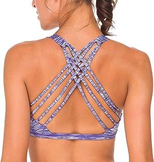 QUEENIEKE Soutien-Gorge de Yoga avec Support Léger Bretelle Libre pour Femmes Couleur Bleu Blanc Space Dye Taille XL