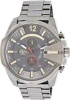 ساعة ميجا شيف معدنية للرجال بعرض انالوج وسوار رمادي من ديزل - Dz4421
