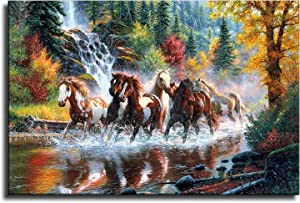 Seven Lucky Running Wild Horses Wall Art Animal Posters Canvas Printing Mountain Stream Landscape Picture for Living Room Office Study Room Decoration Gift for Friends or Family (16×24inch,unframe)