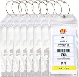 Swatom Cruise Luggage Tags PVC Holders -Waterproof-Clear Luggage Tag-Zip Seal-Etag Bag with Steel Loops 8 P (7.3x3.5``)