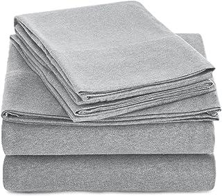 AmazonBasics Heather Cotton Jersey Bed Sheet Set – King, Light Grey