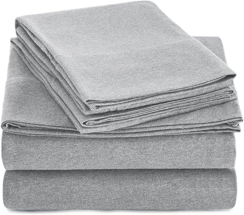 AmazonBasics Heather Cotton Jersey Bed Sheet Set Queen Light Grey