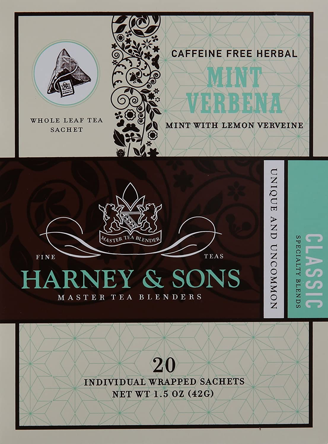 Harney and Sons Mint Verbena Tea, 20 Count (Pack of 6)