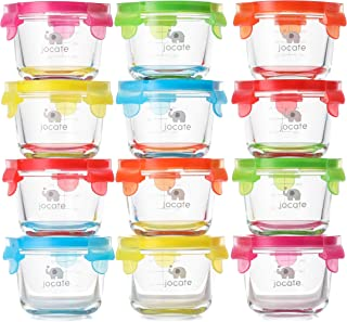 Jocate Glass Storage 4 oz Baby Food Jars | Set of 12 | Freezer, Fridge, Microwave, Oven and Dishwasher Safe Baby Food Containers | Small Reusable Containers with Leakproof Lids | for Infants & Babies