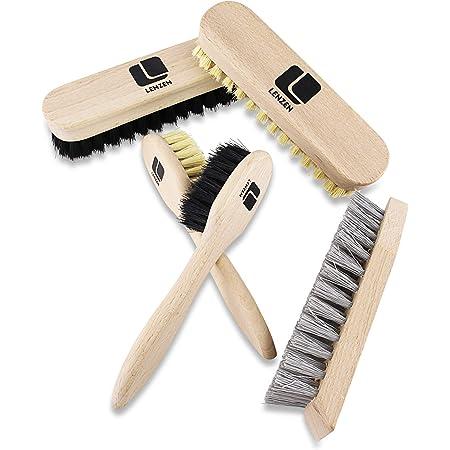 Lenzen hochwertiges Schuhputzset, 5 Teile, bestehend aus 2 Polierbürsten, 2 Tiegelbürsten und 1 Reinigungsbürste