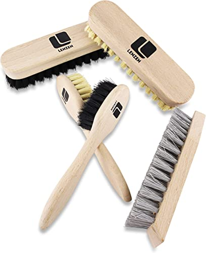 Lenzen Juego de Limpieza de Calzado I Set de Lustra de Zapatos I 5 Partes: 2 Cepillos de Pulido, 2 Cepillos de Crisol...