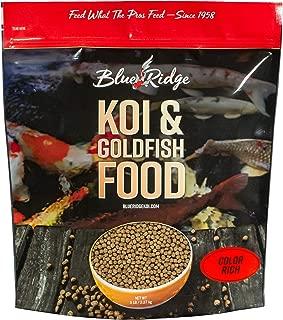 Blue Ridge Fish Food Pellets, Koi and Goldfish Color Rich Formula, Floating 3/16