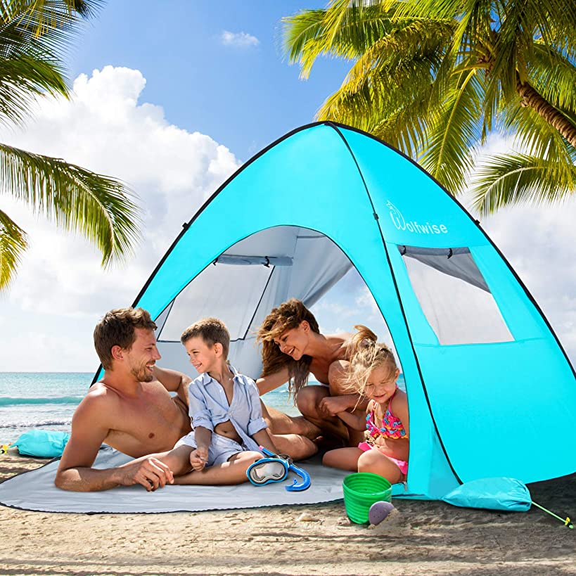 WolfWise UPF 50+ Easy Pop Up 3-4 Person Beach Tent Sun Shelter Quick Instant Automatic Portable Sport Umbrella Baby Canopy Cabana Sun Shade