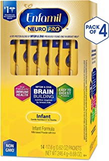 Enfamil NeuroPro Infant Formula, Brain Building Nutrition Inspired by Breast Milk, Single Serve Powder, 14 Count, Pack of 4