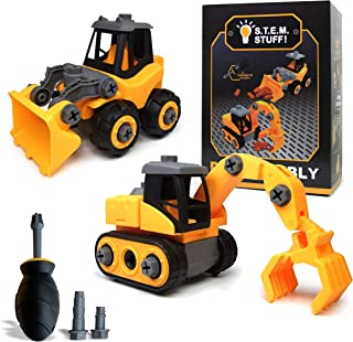 Construction Toy Trucks - Build and Take Apart - Great for Learning to Build & Fun to Play - Playset with Screwdriver, Edu...