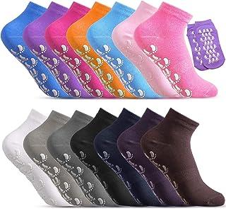 14 Pairs Grip Socks Non-Slip Yoga Socks with Grips Non Slip Skid Sticky Grippers Socks for women men Yoga, Pilates, Barre