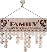 YUQI Presents for Moms Grandma, Wooden Family Birthday Reminder Calendar Board, Birthday Tracker Plaque Wall Hanging with Discs Tags for Home Classroom Bar Wall Decorative- Best Mom Gifts