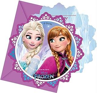 Ciao Procos 86919 Lot de 6 Invitations avec enveloppes Disney La Reine des neiges, Multicolore