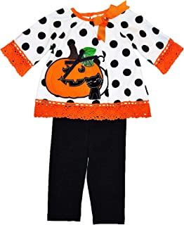 Girls' Two Piece Halloween Outfit, Polka Top with Jack'O Lantern and Black Cat