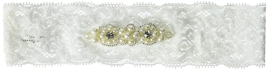 Darice DT745 David Tutera Lace Garter - White Pearl - Stretchable White Pearl Lace Garter