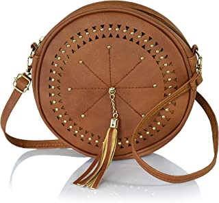 Bohemian Round Laser Cut Vegan Leather Perforated Crossbody Circle Bag with Large Tassel (Cognac Camel Brown with Gold Toned Accents)