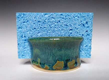 Handmade Sponge Holder/Sink Caddy ~ Stoneware Ceramic Pottery in Green with Blue Swirl