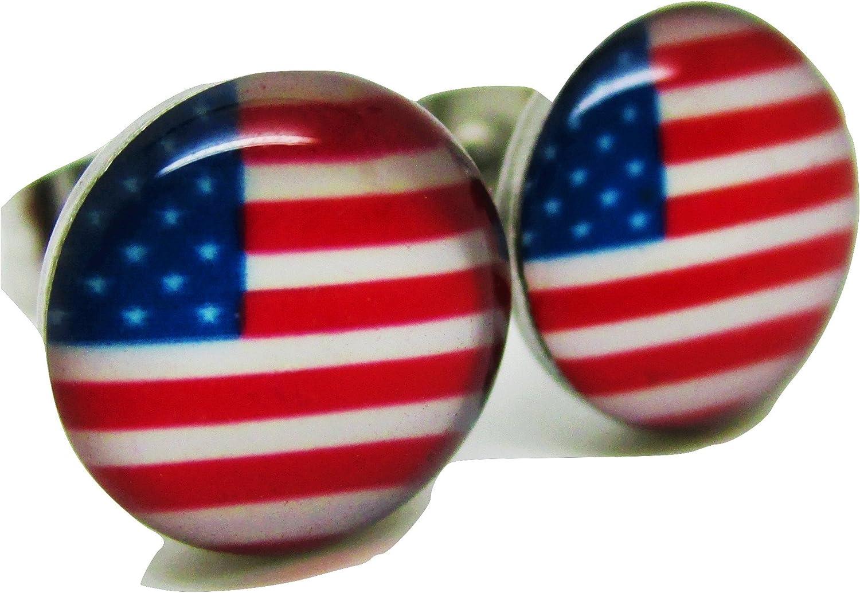 American Flag Stud Post Earrings - New - Pair!