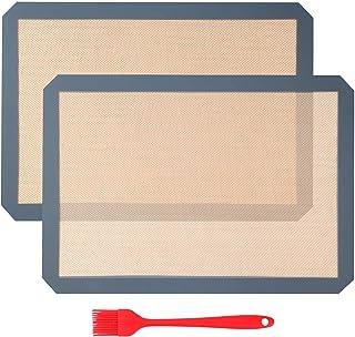 Aicoimy Tapis de Cuisson en Silicone, 2pcs Tapis de Four en Silicone, Tapis à Tâtisserie pour Cookie/Gâteau/Pizza/Pain, Se...