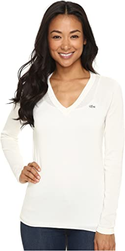 Lacoste - Long Sleeve Cotton Jersey Ottoman V-Neck Sweater