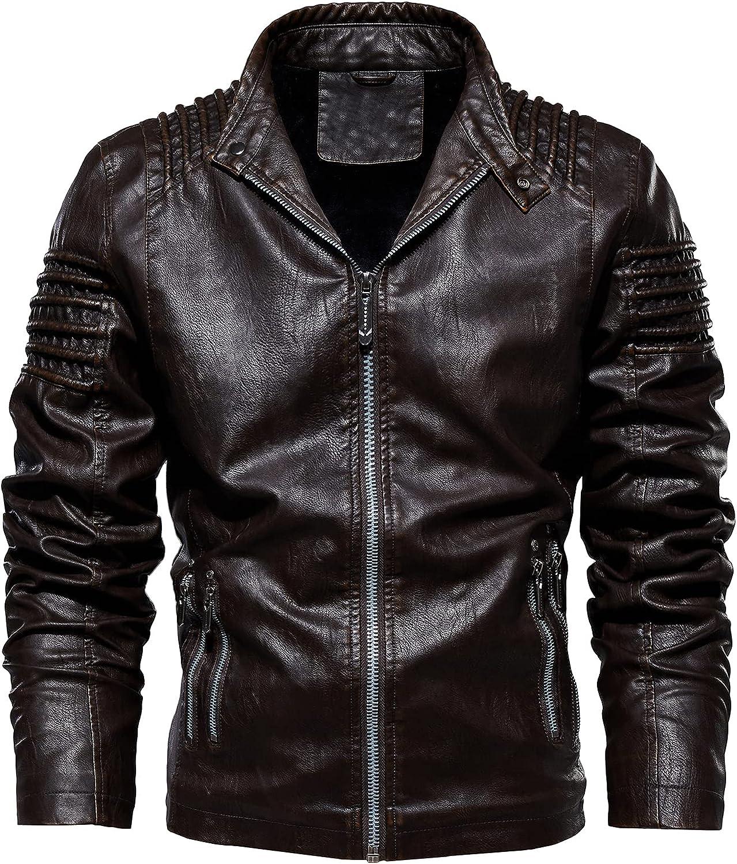 Nightborne Mens Leather Jacket Bomber Jacket Motorcycle Blousons Warm Leisure Jacket
